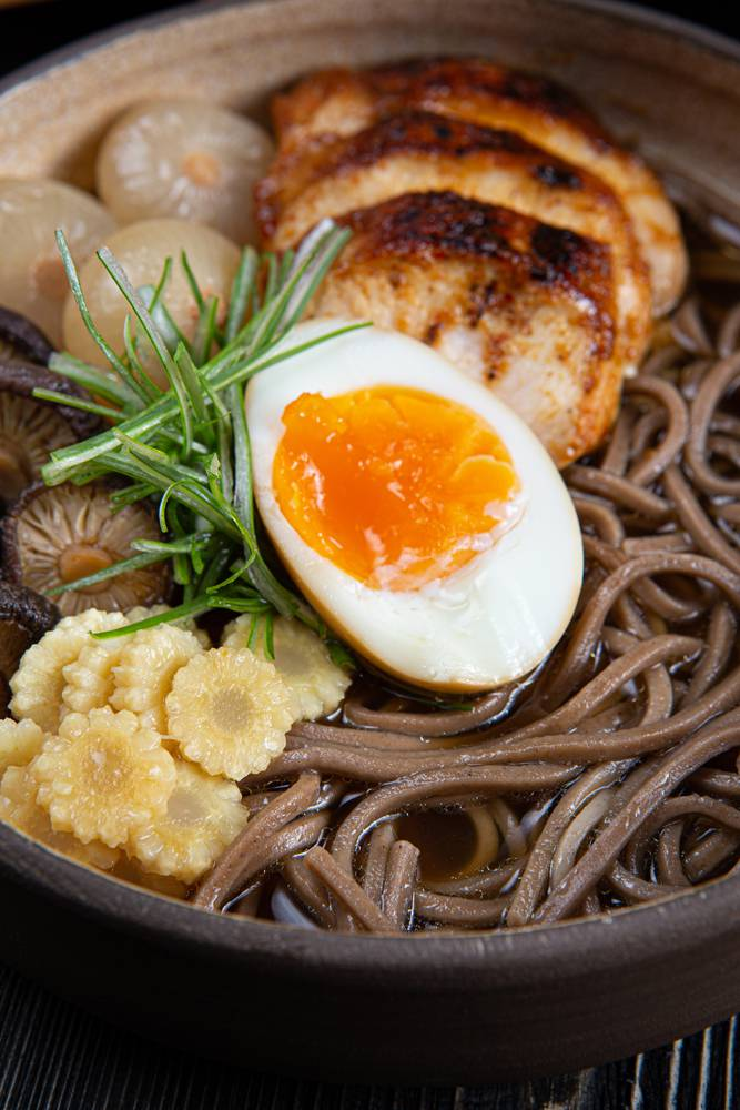 Chicken ramen with soba noodles, 8
