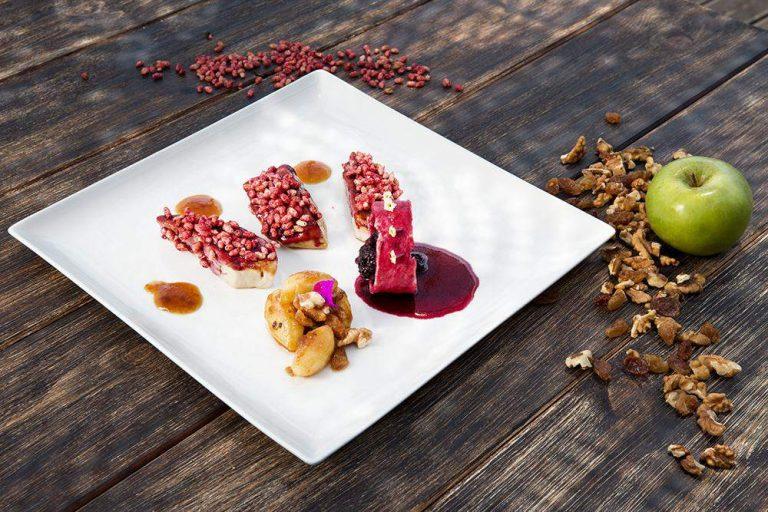 Foie gras, raspberry crispy rice & caramelized apples, Γιώργος Καμπάκης, Kappa Resort, 2