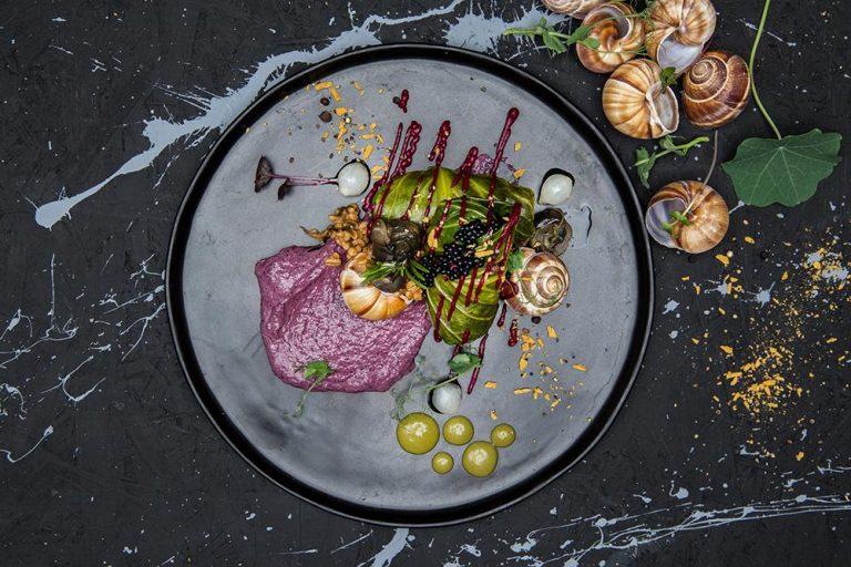 Ντολμάδες λαχανίδας με σαλιγκάρια, πλιγούρι και κρέμα radicchio, Βαρύ πεπόνι, 2