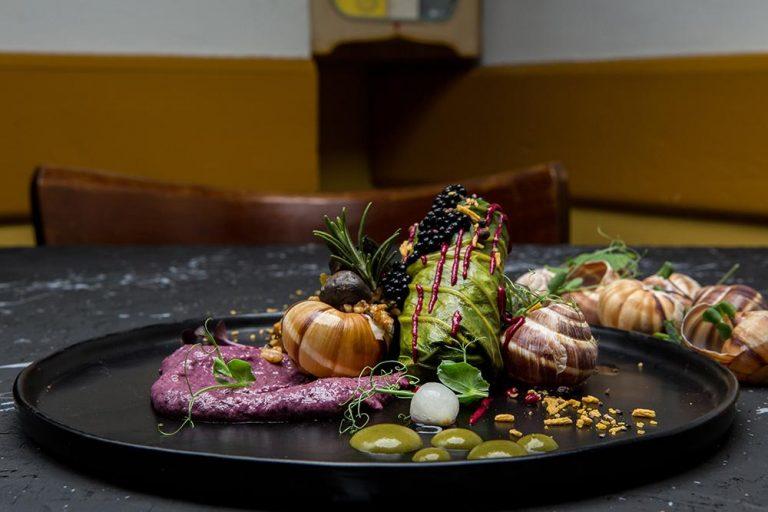 Ντολμάδες λαχανίδας με σαλιγκάρια, πλιγούρι και κρέμα radicchio, Βαρύ πεπόνι, 3