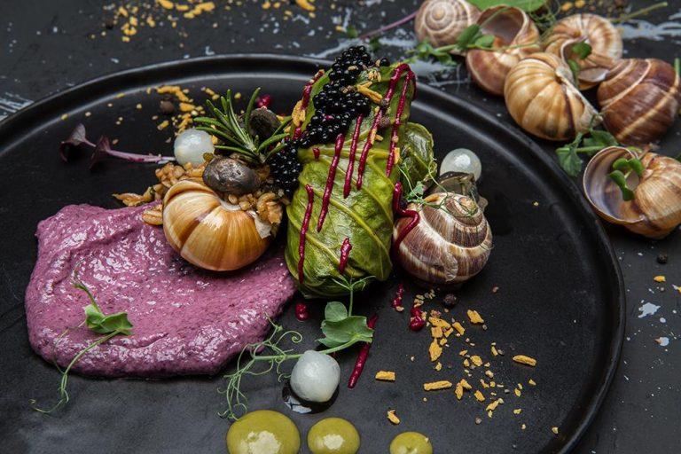 Ντολμάδες λαχανίδας με σαλιγκάρια, πλιγούρι και κρέμα radicchio, Βαρύ πεπόνι, 5