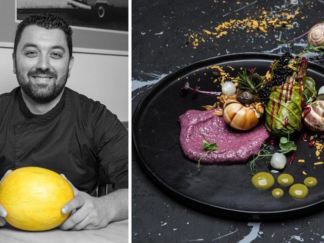 Ντολμάδες λαχανίδας με σαλιγκάρια, πλιγούρι και κρέμα radicchio, Βαρύ πεπόνι, feature