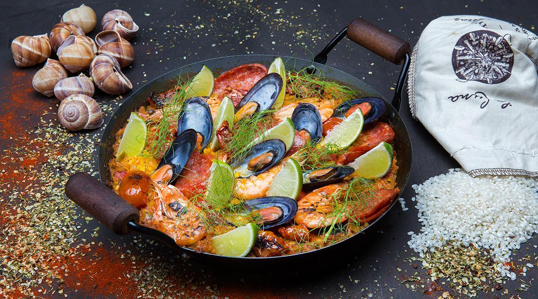 Seafood paella with escargots & chorizo, feature