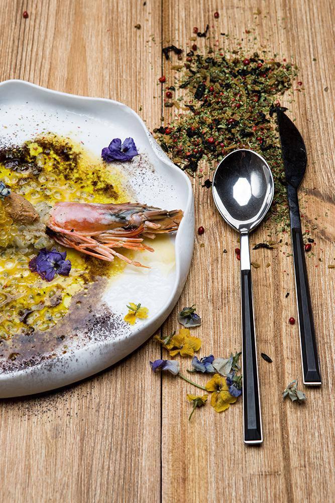 Tartare γαρίδας με pâté καβουριού & μαρινάδα passion fruit, 3